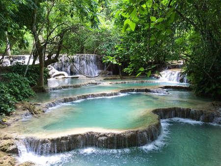 tat: Kuang Si Falls Kuang Xi Falls or Tat Kuang Si Waterfalls