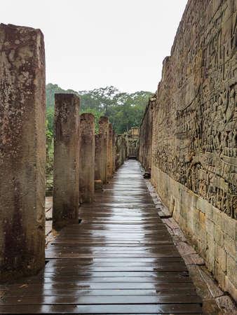 siem reap: Bas-relief at The Bayon Temple Ruins. Angkor, Siem Reap, Cambodia.