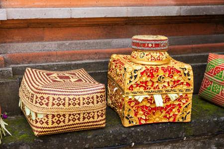 ubud: Balinese Offering Boxes. Ubud, Bali, Indonesia.