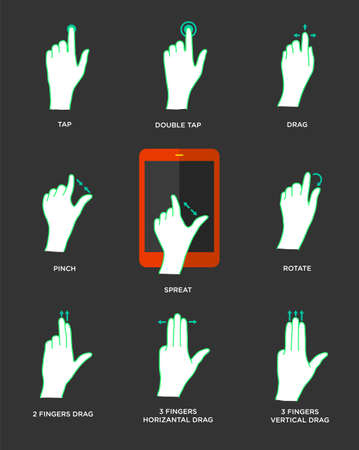 multi touch: Gesture icons for touch devices