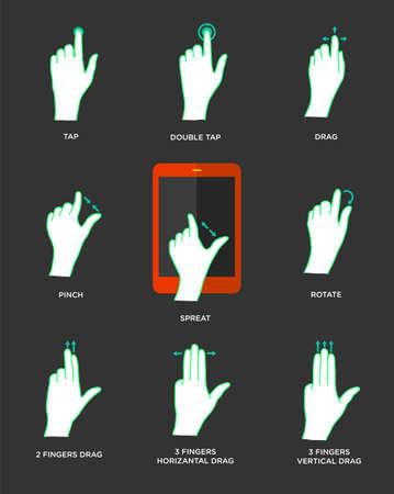 pointer stick: Icone Gesto per dispositivi touch Vettoriali