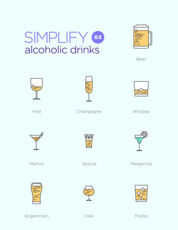 alcoholic drinks: Line icons with flat design elements of alcoholic drinks Illustration