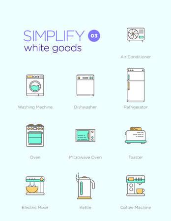 Iconos de comunicación con elementos de diseño de planos de productos de línea blanca Foto de archivo - 44046788