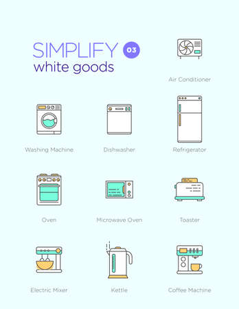 Line icons with flat design elements of white goods Illustration