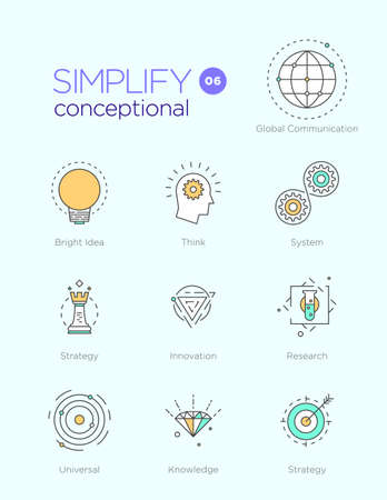 conceptional: Line icons with flat design elements of conceptional