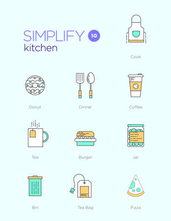 coffee icon: Line icons with flat design elements of kitchen