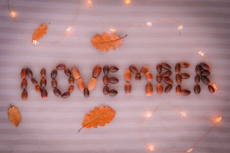 November Text. November sign made of acorns and decorated with yellow oak leaves and lights on grey background.