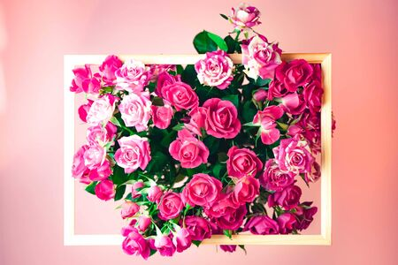 Pink roses on pink background with a frame and space for text. Top view. Event concept. Foto de archivo - 137897429