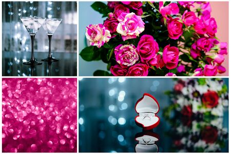 Beautiful valentines day collage. Love and romantic concept. Flowers, engagement ring, dinner for lovers. 版權商用圖片