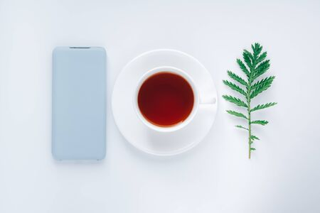 Flat lay cozy morning. Start of the day, insparation concept. White cup of tea, smart phone in light blue case, and a green leaf. Technology or ecology choice.
