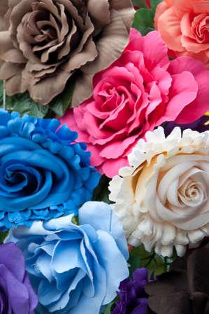 plastic flowers Stock Photo