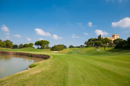 eighteen: Eighteen hole of a golf course Stock Photo
