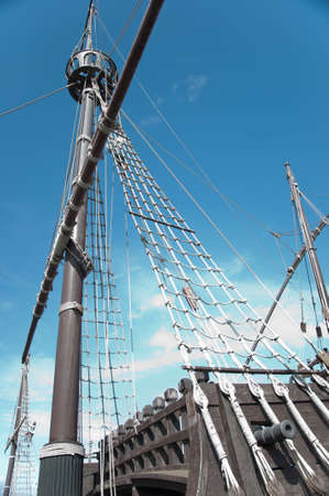 Stern of the replica of a Columbus's ship Stock Photo - 7981320