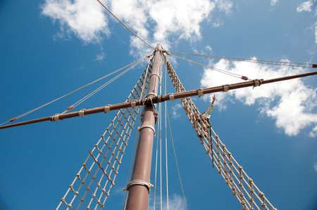 Mast of the replica of a Columbuss ship Stock Photo