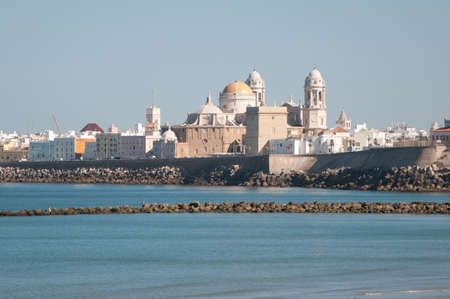 Landscape of the Cathedral of Cadiz from the beach