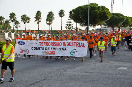 CADIZ, SPAIN-SEPTEMBER 09: Unidentified workers of the company called Visteon in the province of Cadiz in Spain, demonstration supported by the unions in the street to the struggle for employment in the region on September 09, 2011, in Cadiz, Spain