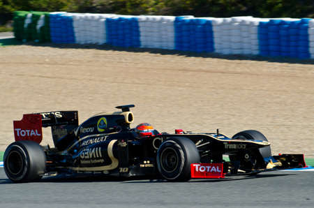 JEREZ DE LA FRONTERA, SPAIN - 2012 FEB 09: Romain Grosjean of Lotus Renault team drives his F1 car during training session at Jerez circuit on February 09, 2012, in Jerez de la Frontera , Spain Editorial