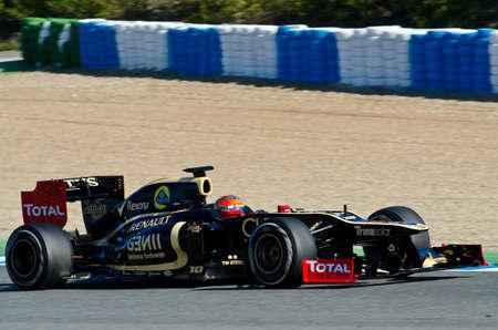 JEREZ DE LA FRONTERA, SPAIN - 2012 FEB 09: Romain Grosjean of Lotus Renault team drives his F1 car during training session at Jerez circuit on February 09, 2012, in Jerez de la Frontera , Spain Editorial