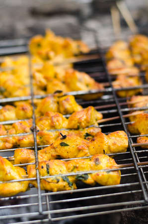 shashlik cooking on the barbecue grill Stock Photo