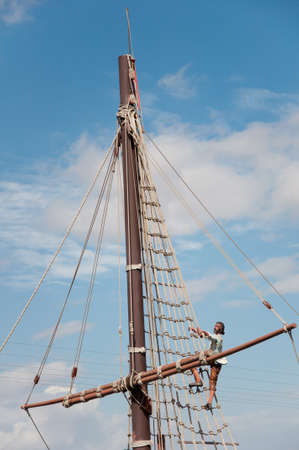 Mast of the replica of a Columbus ship Stock Photo - 15209293