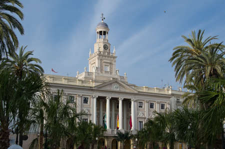 Main facade of the City Hall of Cadiz, on the Place of St. John of God Stock Photo