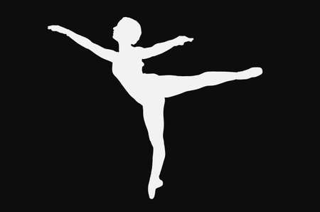Figure of ballet in first arabesque, silhouette in black and white