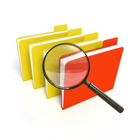 magnification icon: Search of data. Isolated 3D