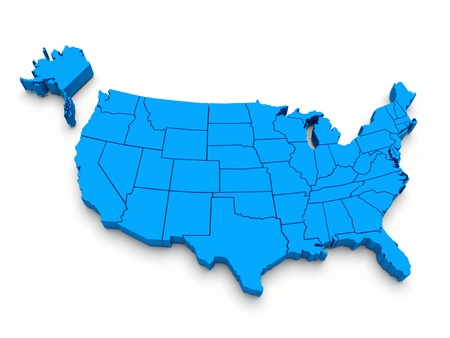 north america: Blue map of USA. 3d