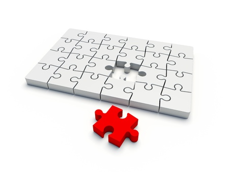 red puzzle piece: puzzle complete without one piece