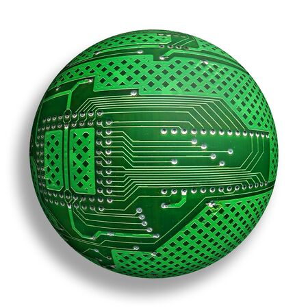 electronic board sphere, isolated cybernetic globe