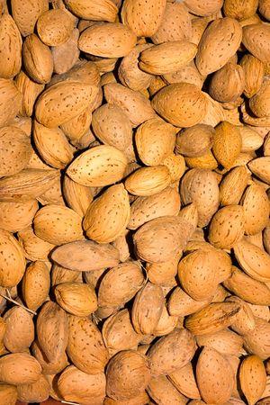 alimentation: heap of almonds, dry fruit for mediterranean alimentation