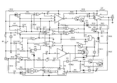 schematic diagram - project of electronic circuit  Stock Photo - 5894527