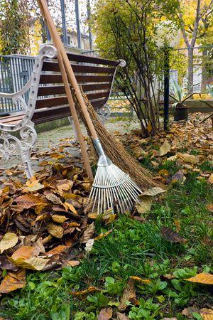 cleanness: lavoro giardino autunnale Archivio Fotografico