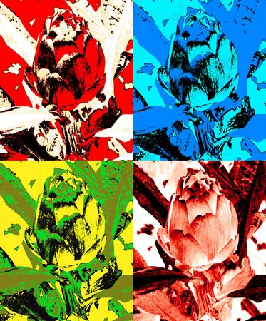 four colored artichoke in pop art style andy warhol inspired