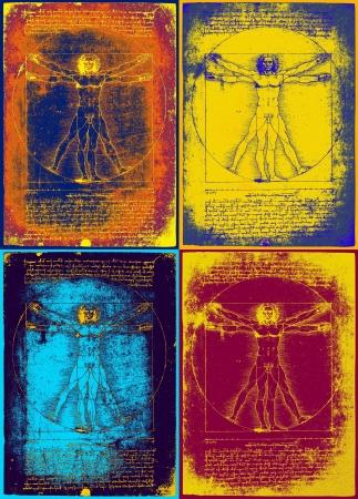 vitruvian man: hombre de vitruvian de leonardo da vinci en el arte pop estilo andy warhol inspirado Foto de archivo