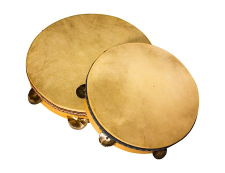 tambourines traditional southern Italy made from wood goat skin and metal bells - frame drum used to   play tarantella and italian popular dance