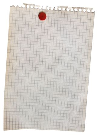 old torn piece of notebook paper attached with red push pin, isolated on white photo