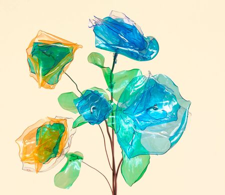 plastic art: creative recycling - flowers made from scraps of plastic bottles