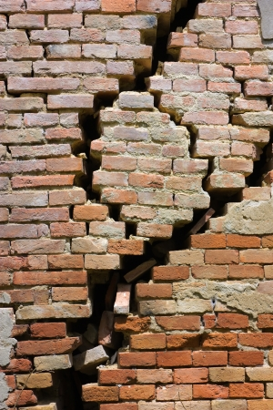 wall of house destroyed during earthquake - large crack in the house in ruins Stock Photo