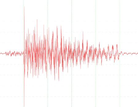 sismogr�fo: un gr�fico de un gr�fico de onda de sism�grafo - s�mbolo para la medici�n de - terremoto - diagrama de onda de audio  Vectores