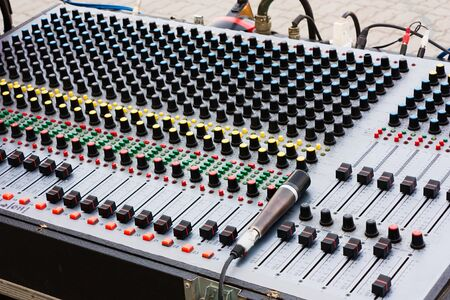 sound mixer for electronic control and equalizing audio signals photo