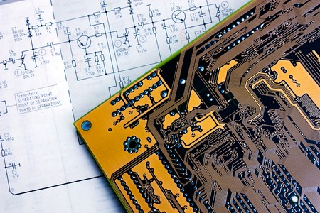 schematic diagram - design of electronic circuit  and electronic board photo