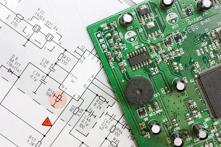 schematic diagram - design of electronic circuit  and electronic board Stock Photo - 7342643