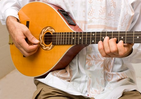 musician playing irish bouzouki - folk popular traditional music Stock Photo