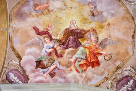 frescoed: frescoed vault in the cathedral of castelfiorentino, tuscany, italy - madonna and angels in heaven Stock Photo