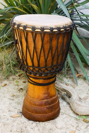 djembe drum: african djembe - djembe is african drum with leather membrane and wooden body