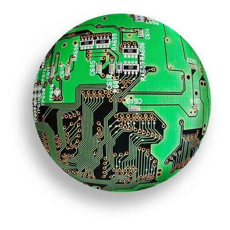 electronic board sphere, isolated green cybernetic globe