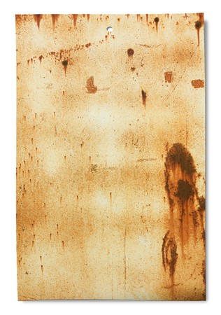 old sheet of rusty iron, dirty empty metallic banner for sign and inscription, isolated on white photo