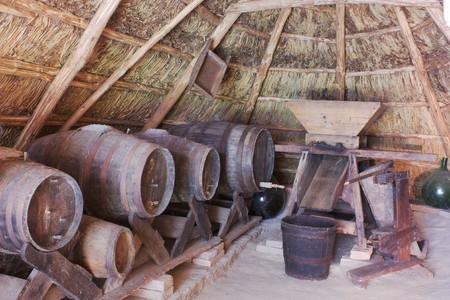 country store: old cellar with barrels and tools for wine preparation into a thatched hut, antique rural construction of north italy