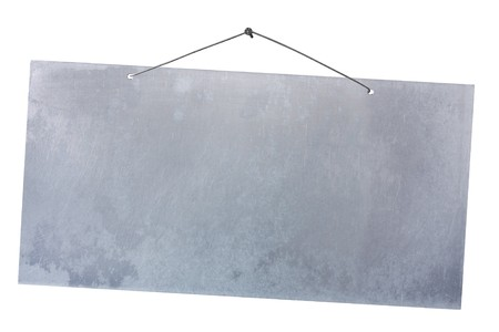 empty aluminum sheet hanging with wire and nail, blank cartel isolated on white, empty grunge  banner